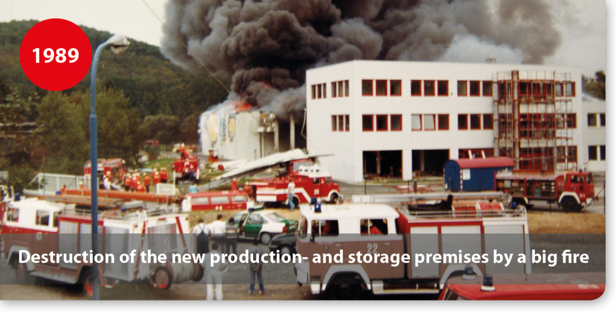 Destruction of the new production- and storage premises by a big fire
