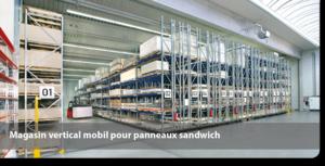 Magasin vertical mobil pour panneaux sandwich