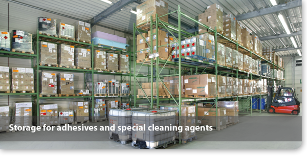Storage for adhesives and special cleaning agents