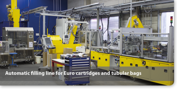 Automatic filling line for Euro cartridges and tubular bags
