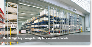 Mobile high bay storage facility for composite panels
