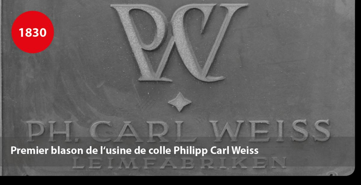 Premier blason de l'usine de colle Philipp Carl Weiss