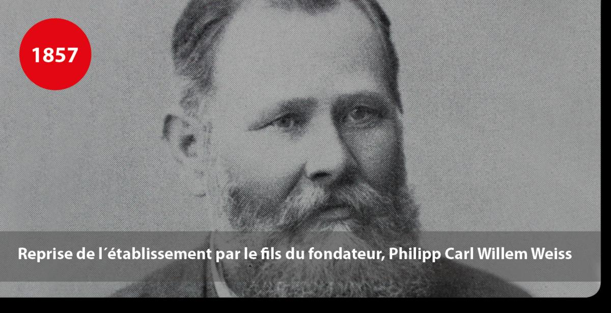 Reprise de l´établissement production de colles par le fils du fondateur, Philipp Carl Willem Weiss