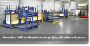 Production of composite panels - Production facility with machines for applying adhesives and presses