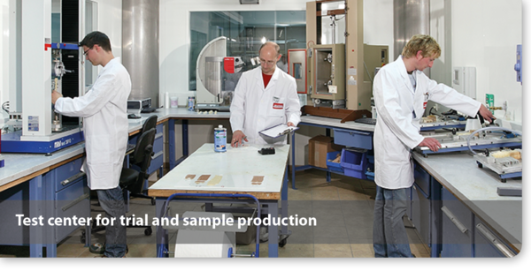 Test center bonding adhesives for trial and sample production