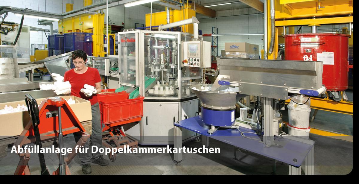 Abfüllanlage Doppelkammerkartuschen für 2-K-Klebstoffe