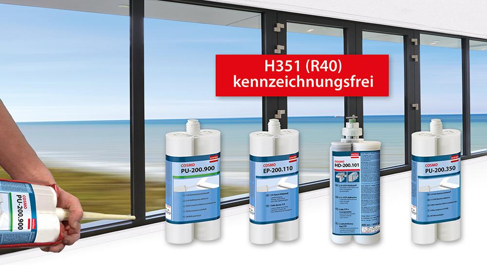 H351/R40 kennzeichnungsfreie PUR-Klebstoffe für Eckwinkelverklebung