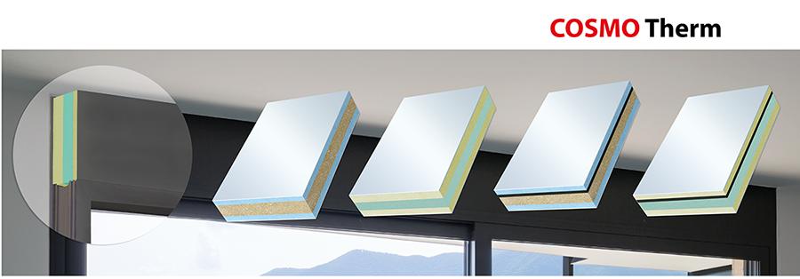 Mit den wärmeisolierenden Sandwichelementen COSMO Therm bietet Weiss eine ideale Lösung für die Profil- und Rahmenverbreiterung im Fensterbau, für die Unterbaukonstruktionen bei Hebe- und Schiebetüren sowie für Fensteranschlussprofile. Je nach Anforderung kann die PVC-Deckschicht mit verschiedenen Innenkernen individuell konfiguriert werden, sei es mit extrudiertem Polystyrol-Hartschaum (XPS), thermoplastischem Kunststoff (TK) und mit einer Polyurethan Recyclingplatte (PR). Alle Elemente zeichnen sich durch eine hervorragende Beständigkeit gegen Feuchtigkeit, Witterung und UV-Strahlen aus; eine weitere Bearbeitung durch Sägen, Fräsen, Schrauben und Bohren ist ebenfalls möglich. Auch für erhöhte Ansprüche an die Schalldämmung sind speziell entwickelte Sandwichelemente vorhanden