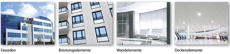 Einsatzbeispiele Brandschutzlemente (Fassade, Brüstung, Decke, Wand)