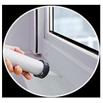 Fugenüberbrückendes Verkleben und Abdichten an Fenster