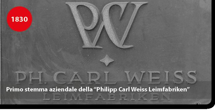"""Primo stemma aziendale della """"Philipp Carl Weiss Leimfabriken"""""""