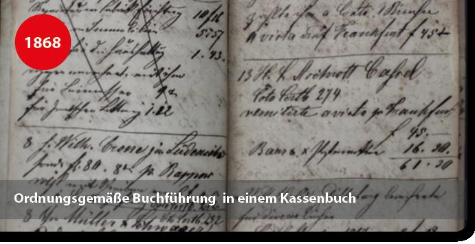 Kassenbuch aus dem Jahr 1868