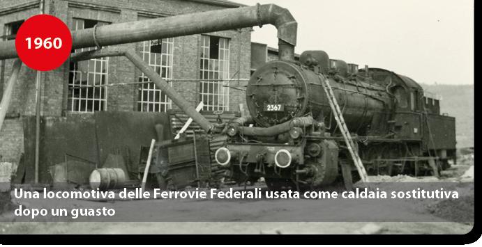 Una locomotiva delle Ferrovie Federali usata come caldaia sostitutiva dopo un guasto