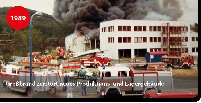 Brand Produktionshallen für Klebstoffe