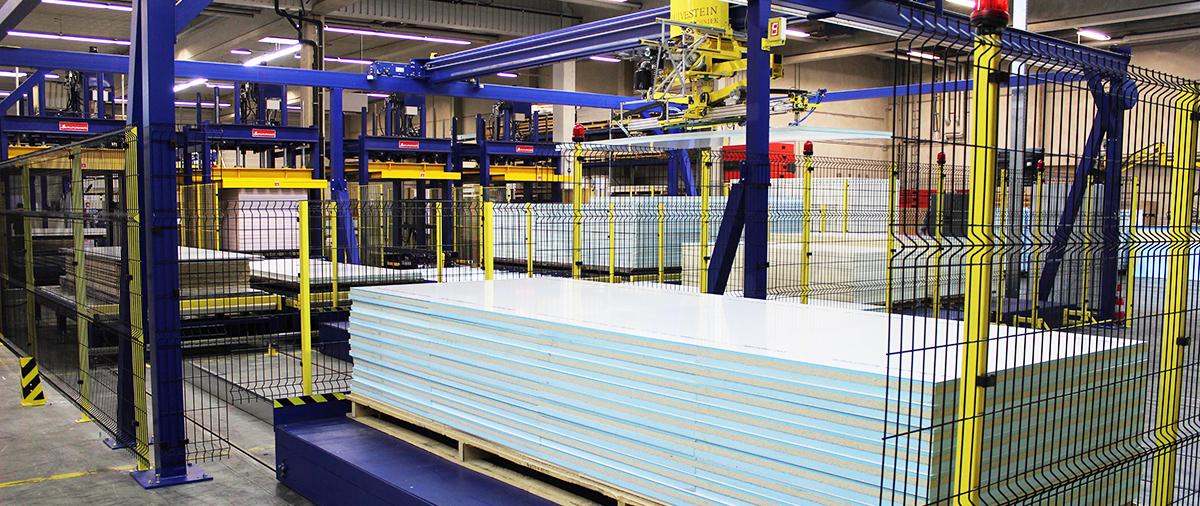 Produktion von Sandwichelementen - Vollautomatisches Umstapelportal