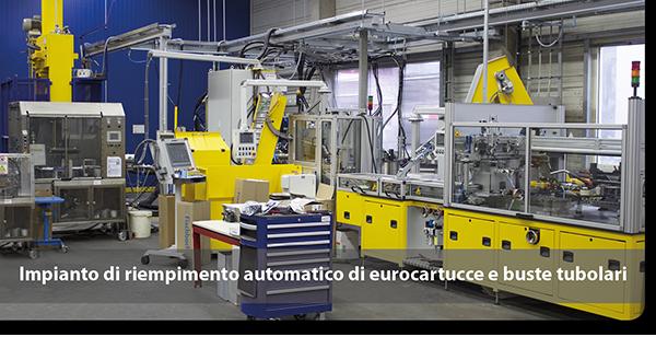 Impianto di riempimento automatico di eurocartucce e buste tubolari