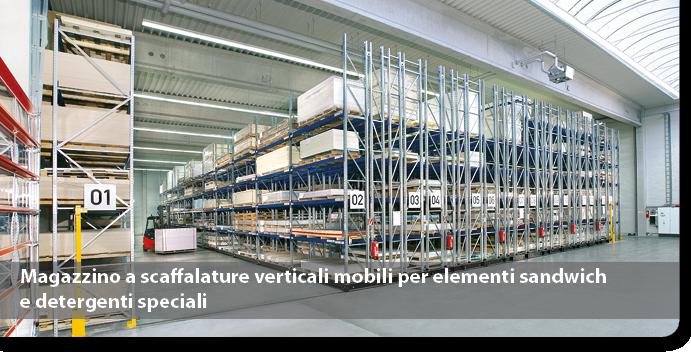 Magazzino a scaffalature verticali mobili per elementi sandwich e detergenti speciali