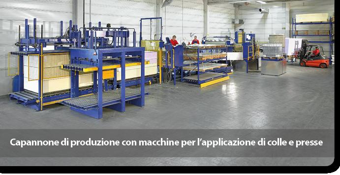 Capannone di produzione con macchine per l'applicazione di colle e presse