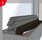 Collage des bandes couvre-joint au niveau des embrasures extérieures des portes et des fenêtres