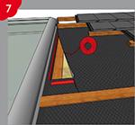 Collage et étanchéification des écrans de sous-toiture dans la zone de raccordement des tabatières