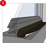 Bonding of the joint tapes on window and door jambs with for the RAL assembly